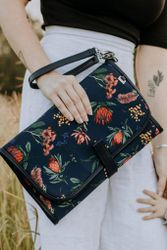 Baby Travel Change Clutch - Navy Botanical Floral