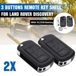 2x 3Buttons Remote Key Fob Case Shell W/ VL2330 Battery For Land Rover Discovery