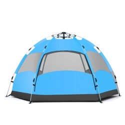 3-5 Person Pop Up Camping Tent Automatic Double-deck Beach Sun Shade Shelter(blue)