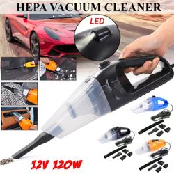 12V 120W Black Vacuum Cleaner With charging cable Hand Held Dry Wet Portable(black,Wired 120W with LED Light)