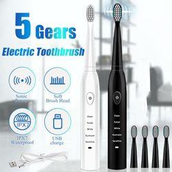 5 Mode 4 Soft Brush Head Powered Electric Toothbrush Waterproof Sonic Smart New (white,USB Charging)