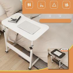 Adjustable Height Movable Bedside Table Laptop Computer Desk Sofa Side Table With Wheels Home Office Desk(black)