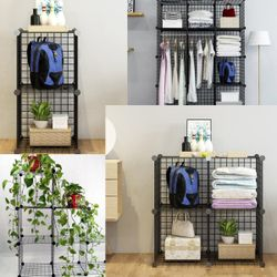 8/12 Grids DIY assemble Multi-Function Iron Mental Grid Unit Wire Storage for Home Decor Bookcase Wardrobe Bathroom Storage Organisers (8 Grids)