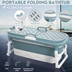 Folding Bathtub Bath Barrel Soaking Tub Swim Tub Sauna For Baby Child Adult 115/138cm(Blue,138cm*62cm*52cm)