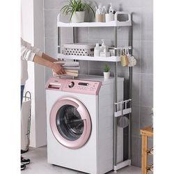 Load Bearing About 20KG 2 Tier Shelf Toilet Washing Machine Rack Bathroom Space Saving Organizer Shelf-Adjustable Foot Pad(White Washing Machine Rack)