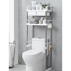 Load Bearing About 20KG 2 Tier Shelf Toilet Washing Machine Rack Bathroom Space Saving Organizer Shelf-Adjustable Foot Pad(White Toilet Rack)