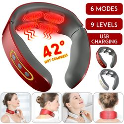Cervical Electric Pulse Back and Neck Massager Far Infrared Heating Pain Relief Tool Relaxation (white)