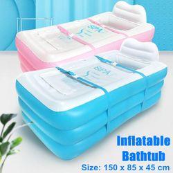 150x85x45cm Large Folding PVC Inflatable SPA Bath Tub Portable Adult Bathtubs(Blue,Blue)