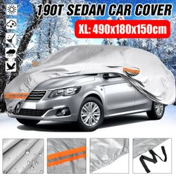 Universal For Sedan Car Covers Size S/M/L/XL/XXL Indoor Outdoor Full Auot Cover Sun UV Snow Dust Resistant Protection Cover(Car Cover XL(490x180x150cm))