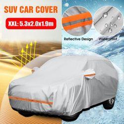 Universal SUV Full Car Covers Outdoor Waterproof Sun Rain Snow Protection UV Car Umbrella Silver XXL Auto Case Cover(Car Cover XXL(5.3x2x1.9m))