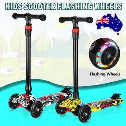 Scooter for Kids with Foldable and Removable Seat Adjustable Height, 2 LED Light Wheels 3 Wheels Kick Scooter for Girl & Boy 3-17 Years Old(White)