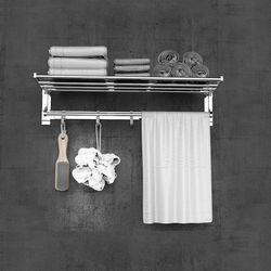 Wall Mounted Towel Rack Bathroom Hotel Rail Holder Storage Shelf Stainless 2Tier(silver,1pc)