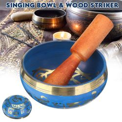 9.5cm Buddhism Tibetan Meditation Yoga Singing Bowl Mallet Nepal Chakra Healing (blue,Singing Bowl and Stick)