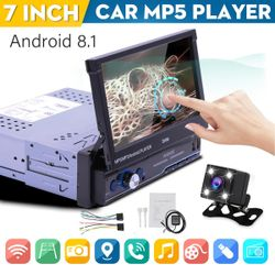 7'' 1 DIN Android 8.1 Car MP5 Stereo Player bluetooth WiFi GPS FM USB & Camera(Low Quality without Camera)