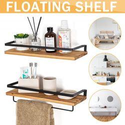 2 PCS Industrial Wall Mounted Floating Shelf Display Ledge Rustic Storage Shelves(Type 2 - Black)