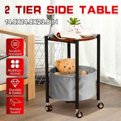 Movable Side Coffee Table Storage Rack, Bedside Table and Laptop Desk with Storage Basket(1 X Table)