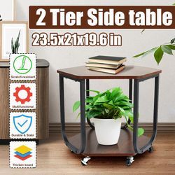 2 Tier Coffee Table Coffee Table Storage Rack Bedroom Side Table Desk with Wheels Movable Table(Coffee,2 Tier)