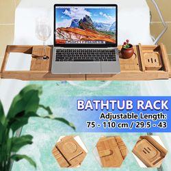 75-110cm Adjustable Bathroom Bathtub Rack Bath Caddy Wine Glass Holder Soap Tray Reading Rack Extendable Shelf