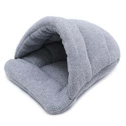 Cat Cave Soft Cushion Igloo Kitten Cat Bed Mat House Dog Puppy Bed - Grey
