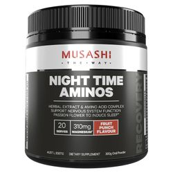 Musashi Night Time Aminos Fruit Punch Flavour 300g (20 Serves)