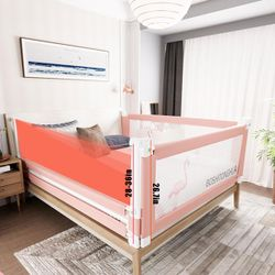 Pink-1.5M Adjustable Folding Kids Safety Bed Rail Cot Guard Protector Child Toddler