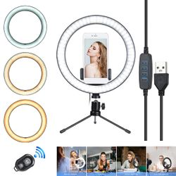 """2in1 10"""" LED Ring Light Live Makeup Video Photo With Desk Tripod Phone Holder"""