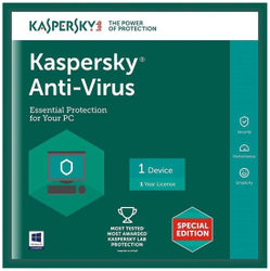 Kaspersky Antivirus Software 2016 New Slim Pack 1Pc 1Year(1Cd 365 Days Valid Serial Key Free Cd Cover For Safe the Cds From Scratch)