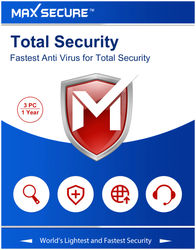 Max Secure Total Security Version 6 - 3 PC 1 Year (Activation Key Card) registration code