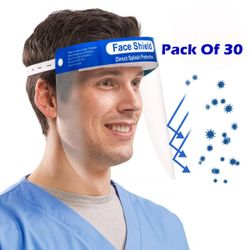 ACE N KING Safety Anti-fog Full Anti-Spitting Splash Facial Cover Face Shield - (Pack Of 30)