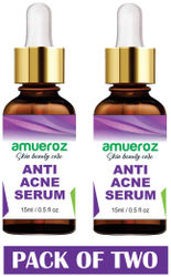 Amueroz Anti Acne Pimple removal Anti Blemish Treating Acne prone White heads and Black heads Clears scar Dark Spots Face Serum - 15 ml (Pack of 2)