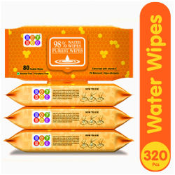 Bey Bee Hypoallergenic Baby Water Wipes For New Born Babies Sensitive Skin 80 Wipes (Pack of 4)