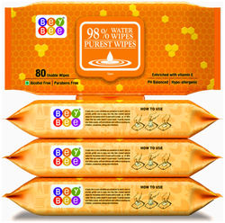 Bey Bee - Hypoallergenic Baby Water Wipes for New Born Babies (4 Pack 320 Water wet wipes)