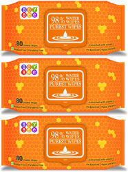 Bey Bee - Hypoallergenic Baby Water Wipes for New Born Babies (3 Pack 240 Water wet wipes)