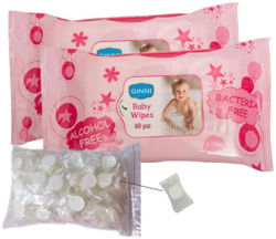 Ginni Baby Skincare Wet Wipes(Set of 2) Coin Tissue Napkins(Set of 50) (Each Coin Tissue In Candy Pack)
