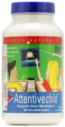 GNC Source Naturals Attentive Child - May Enhance Mental Concentration - 60 Chewable Wafers