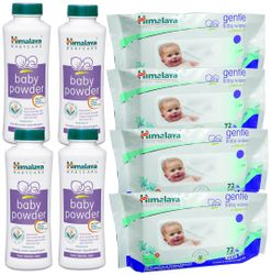 Himalaya Baby Powder 400g (Pack of 4) Gentle Baby wipes 72 Pack of 4 (Pack of 8)