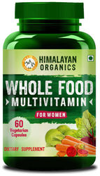 Himalayan Organics Whole Food Multivitamin for Women With Natural Vitamins Minerals Extracts Best for Energy Brain Bone Health 60 Veg Capsules