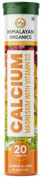 Himalayan Organics D3 Calcium Magnesium Immunity Booster Anti - Oxidant Supplement - 20 Effervescent Tablets ( Lime Flavor )