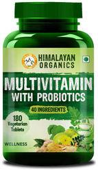 Himalayan Organics Multivitamin for men women with 40 ingredients - 180 Tablets - with probiotics - Immunity Energy Metabolism and Muscle Function