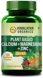 Himalayan Organics Plant Based Calcium Magnesium Zinc D3 K2 Whole Food Natural- 120 Capsules
