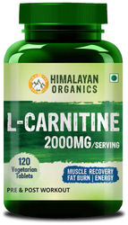 Himalayan Organics L Carnitine 2000mg Serve Supports Muscle Recovery Fat Burn Energy 120 Veg Tablets
