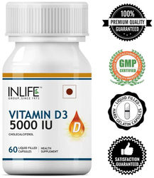 Inlife Vitamin D3 Cholecalciferol 5000 IU - 60 Liquid Filled Capsules