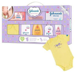 Johnson s Baby Care Collection Baby Gift Set - with Organic Cotton Baby One-Piece Romper 8 pcs