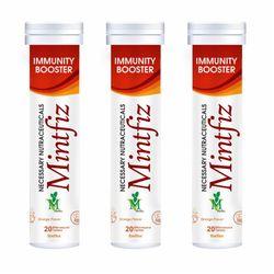 MintFiz Immunity Booster 20 Effervescent Tablets (Orange Flavour (Pack of 3)