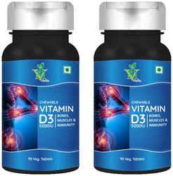 MINTVEDA Vitamin D3 Chewable Veg 90 Tablets Pack of 2