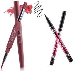 Miss Rose Lipliner plus Lipstick shade 1 (1 5 g) and 36hrs Long lasting Smudeproof Eyeliner(1 5 g)