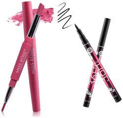 Miss Rose Lipliner plus Lipstick shade 3 (1 5 g) and 36hrs Long lasting Smudeproof Eyeliner(1 5 g)