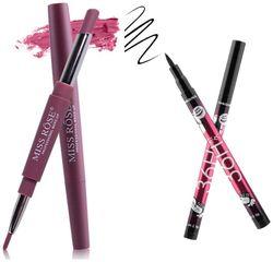 Miss Rose Lipliner plus Lipstick shade 2 (1 5 g) and 36hrs Long lasting Smudeproof Eyeliner(1 5 g)