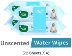 Mother Sparsh Unscented 99 Water 72 Baby Wipes (Pack of 4)