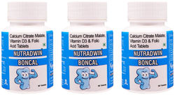 Nutradwin Boncal with Calcium Citrate Vitamin D3 and Zinc Ideal Supplement for Bone Health Joint Support of Men Women - 60Tablets (Pack Of 3)